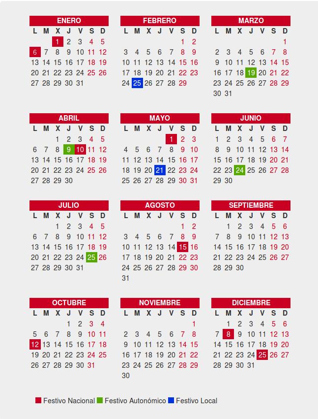 Calendario Laboral de Santiago de Compostela 2020