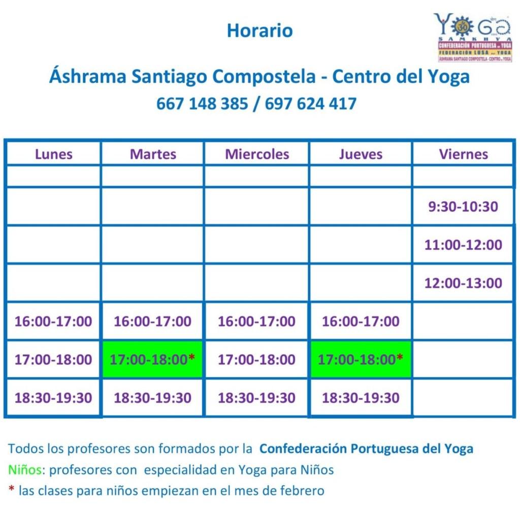 Horario Áshrama Santiago - Centro de Yoga