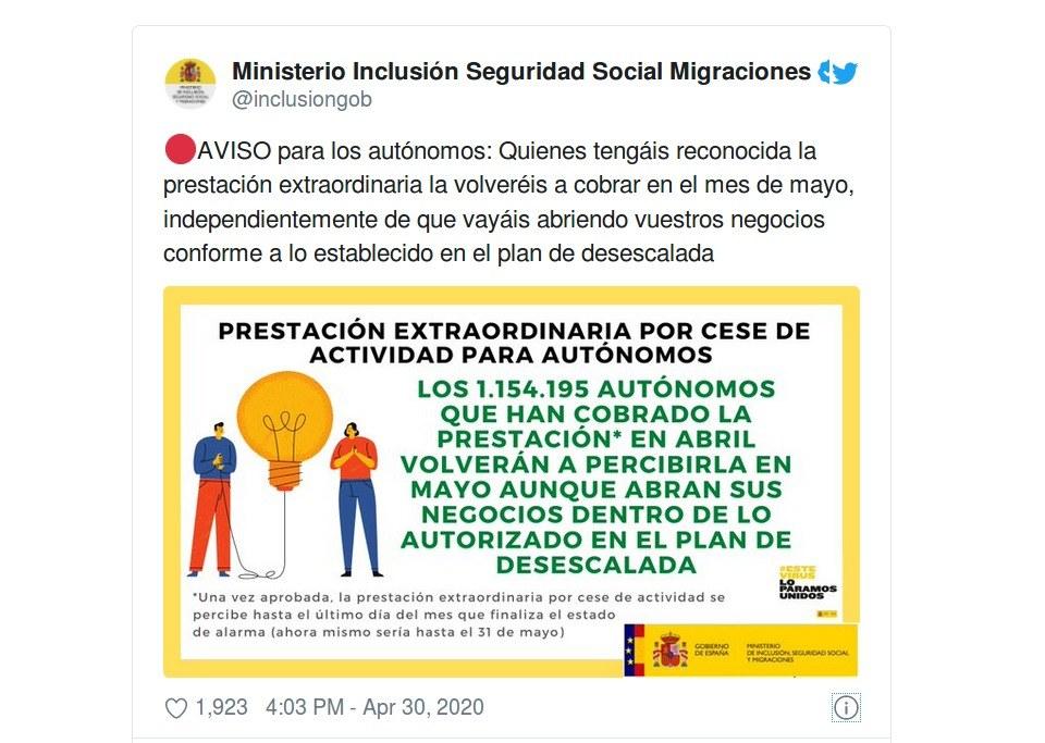 Ministerio Inclusión Seguridad Social Migraciones - Cese de actividad