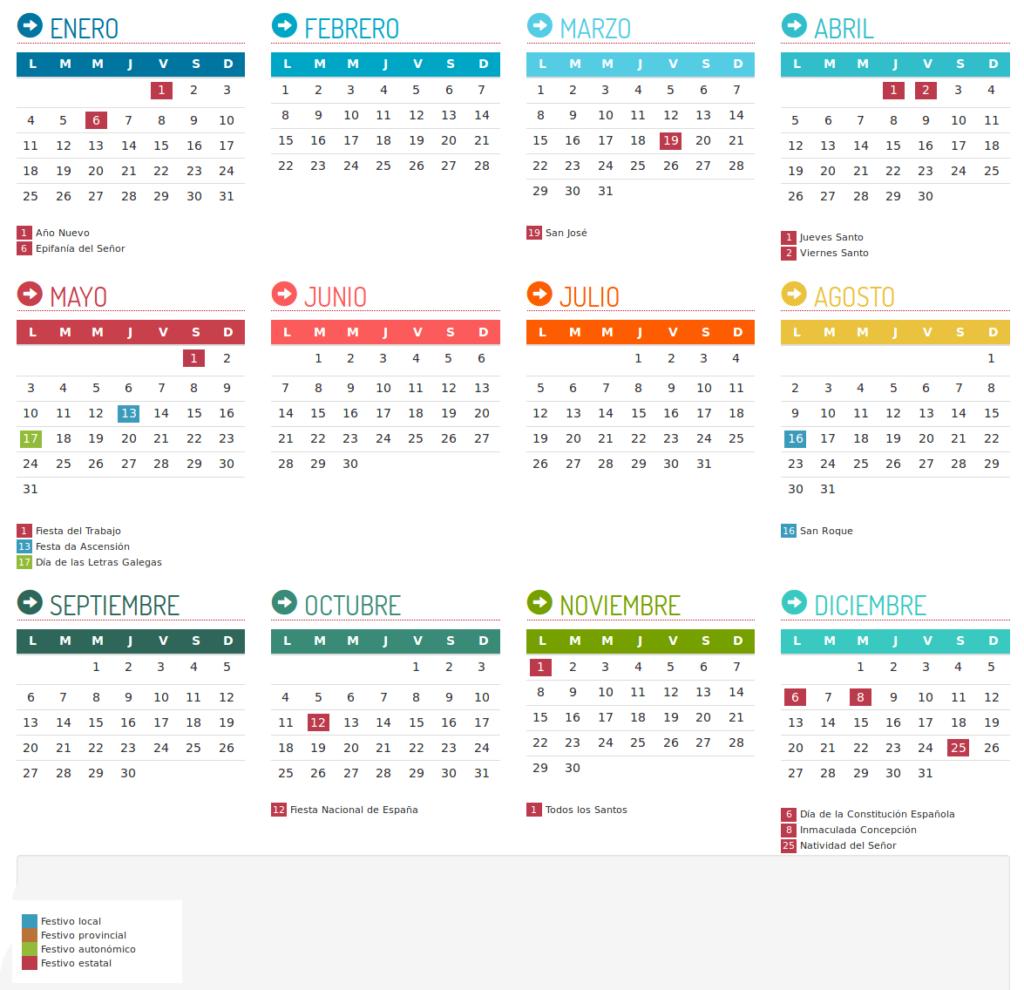 Calendario Laboral Santiago 2021
